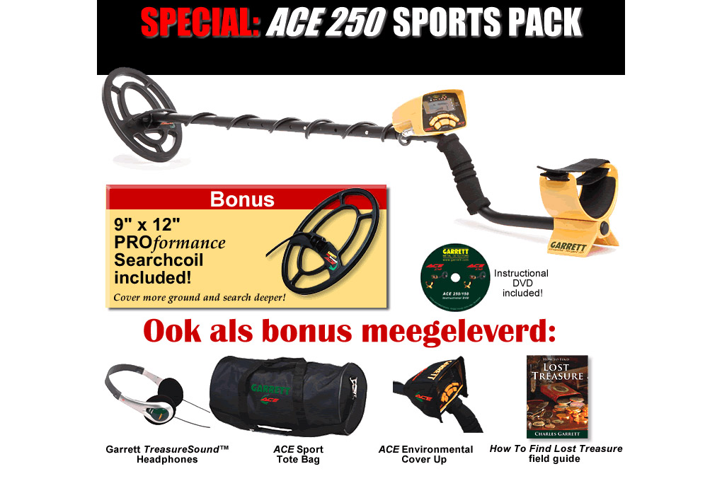Garrett Ace 250 Deluxe Sports Pack AANBIEDING!